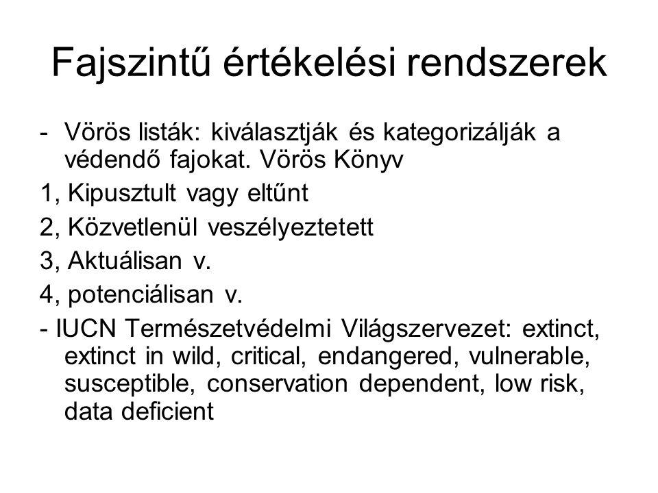 Fajszintű értékelési rendszerek - Természetvédelmi szempontú értékbesorolási rendszerek -Mo.-on száras növényekre és gerincesekre -Egyszerű rangsorok: Simon, Borhidi Védett v.