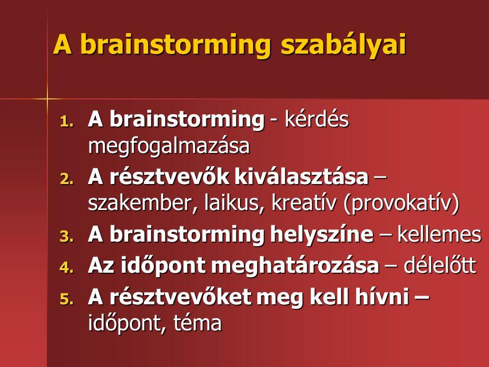 A brainstorming szabályai 1.A brainstorming - kérdés megfogalmazása 2.