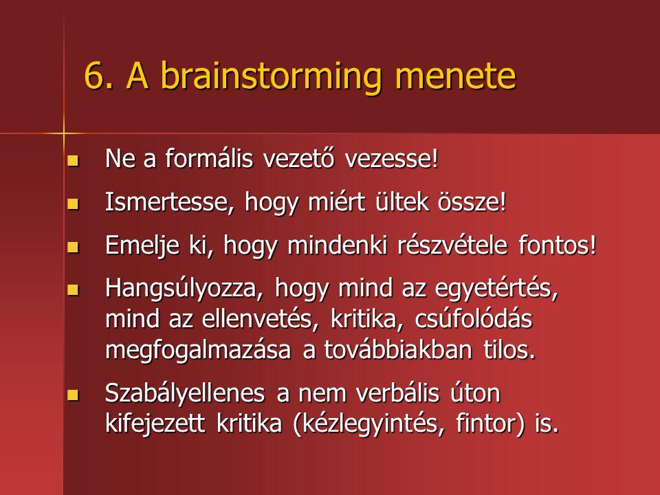 6.A brainstorming menete Ne a formális vezető vezesse.