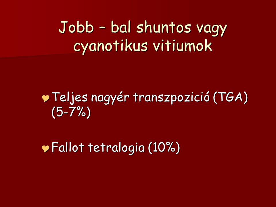 Jobb – bal shuntos vagy cyanotikus vitiumok  Teljes nagyér transzpozició (TGA) (5-7%)  Fallot tetralogia (10%)