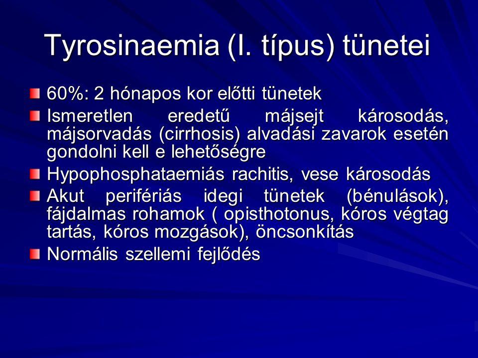 Tyrosinaemia (I. típus) tünetei 60%: 2 hónapos kor előtti tünetek Ismeretlen eredetű májsejt károsodás, májsorvadás (cirrhosis) alvadási zavarok eseté