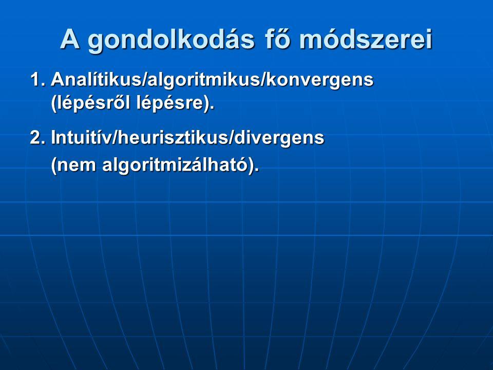 A gondolkodás fő módszerei 1.Analítikus/algoritmikus/konvergens (lépésről lépésre).