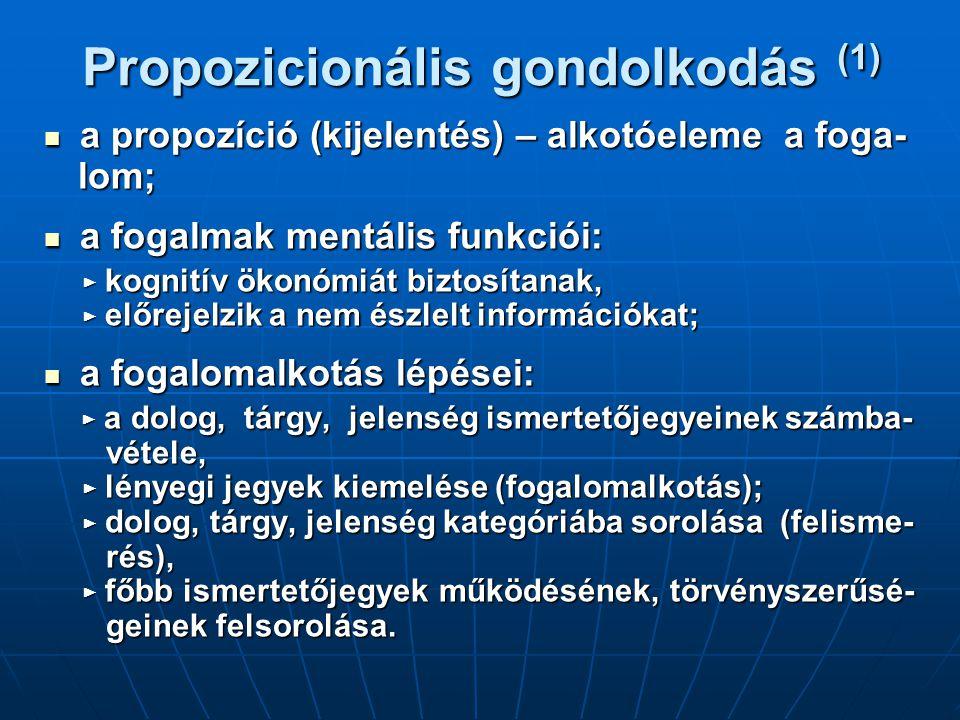 Propozicionális gondolkodás (1) a propozíció (kijelentés) – alkotóeleme a foga- a propozíció (kijelentés) – alkotóeleme a foga- lom; lom; a fogalmak mentális funkciói: a fogalmak mentális funkciói: ► kognitív ökonómiát biztosítanak, ► kognitív ökonómiát biztosítanak, ► előrejelzik a nem észlelt információkat; ► előrejelzik a nem észlelt információkat; a fogalomalkotás lépései: a fogalomalkotás lépései: ► a dolog, tárgy, jelenség ismertetőjegyeinek számba- ► a dolog, tárgy, jelenség ismertetőjegyeinek számba- vétele, vétele, ► lényegi jegyek kiemelése (fogalomalkotás); ► lényegi jegyek kiemelése (fogalomalkotás); ► dolog, tárgy, jelenség kategóriába sorolása (felisme- ► dolog, tárgy, jelenség kategóriába sorolása (felisme- rés), rés), ► főbb ismertetőjegyek működésének, törvényszerűsé- ► főbb ismertetőjegyek működésének, törvényszerűsé- geinek felsorolása.