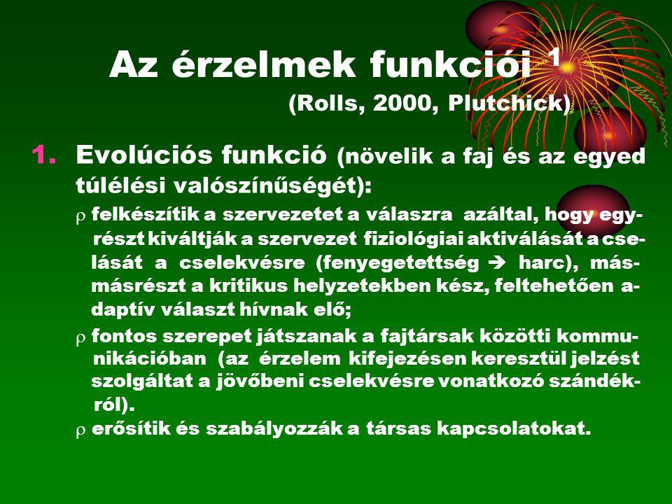Az érzelmek funkciói 1 (Rolls, 2000, Plutchick) 1.Evolúciós funkció (növelik a faj és az egyed túlélési valószínűségét):  felkészítik a szervezetet a