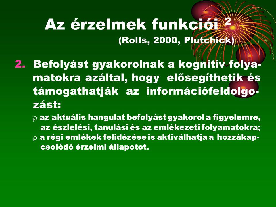 Az érzelmek funkciói 2 (Rolls, 2000, Plutchick) 2.Befolyást gyakorolnak a kognitív folya- matokra azáltal, hogy elősegíthetik és támogathatják az info