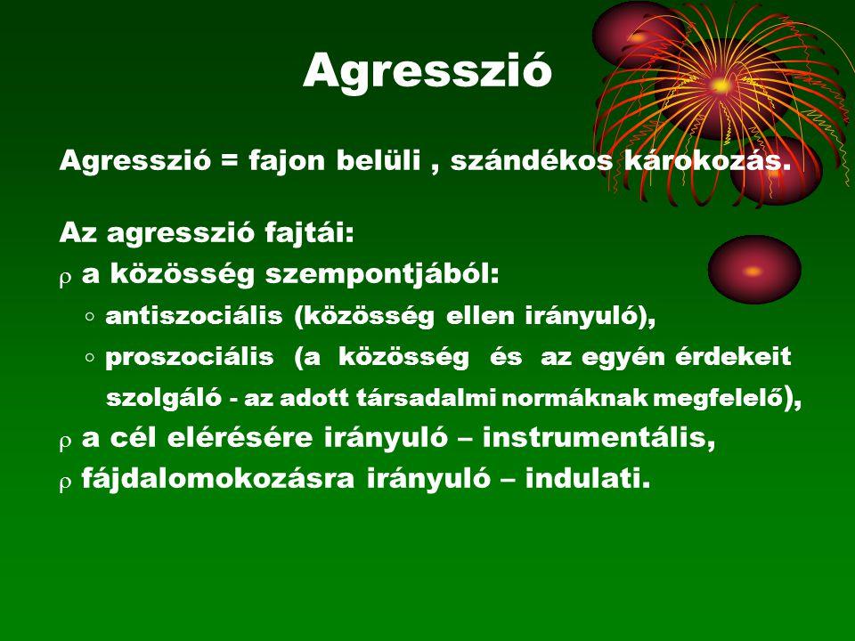 Agresszió Agresszió = fajon belüli, szándékos károkozás. Az agresszió fajtái:  a közösség szempontjából:  antiszociális (közösség ellen irányuló), 