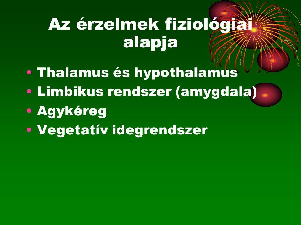 Az érzelmek fiziológiai alapja Thalamus és hypothalamus Limbikus rendszer (amygdala) Agykéreg Vegetatív idegrendszer