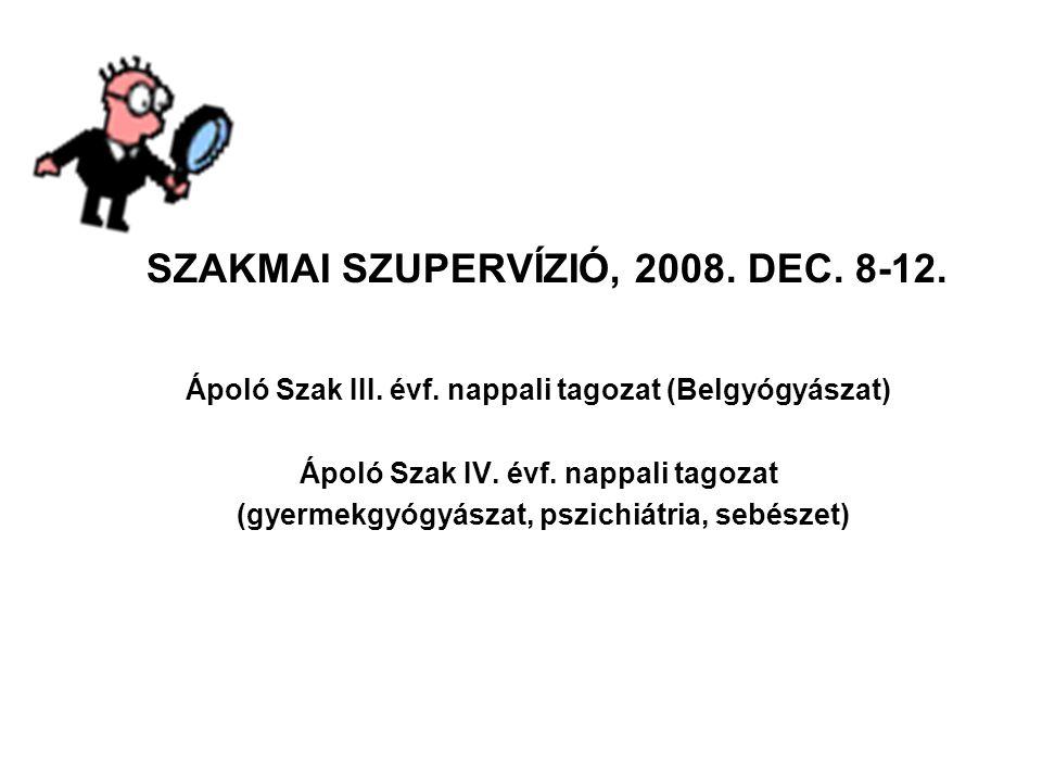 SZAKMAI SZUPERVÍZIÓ, 2008. DEC. 8-12. Ápoló Szak III. évf. nappali tagozat (Belgyógyászat) Ápoló Szak IV. évf. nappali tagozat (gyermekgyógyászat, psz