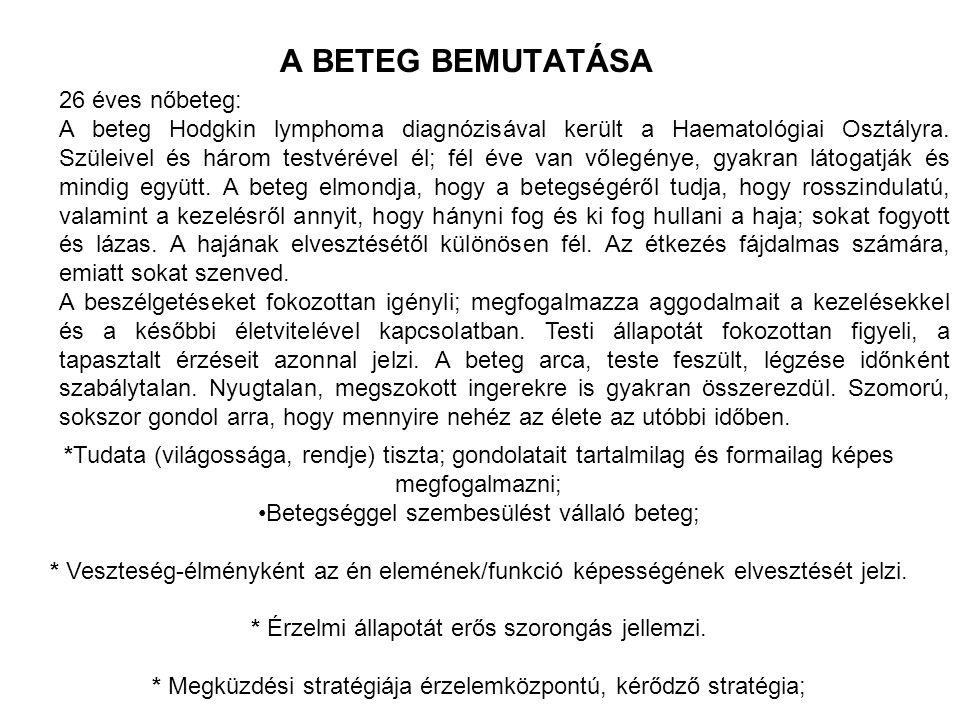 A BETEG MEGFIGYELT TÜNETEI -Tm: 172 cm, Ts: 58 kg (az utóbbi 1 hónapban testsúlya 7,5 kg-t csökken).