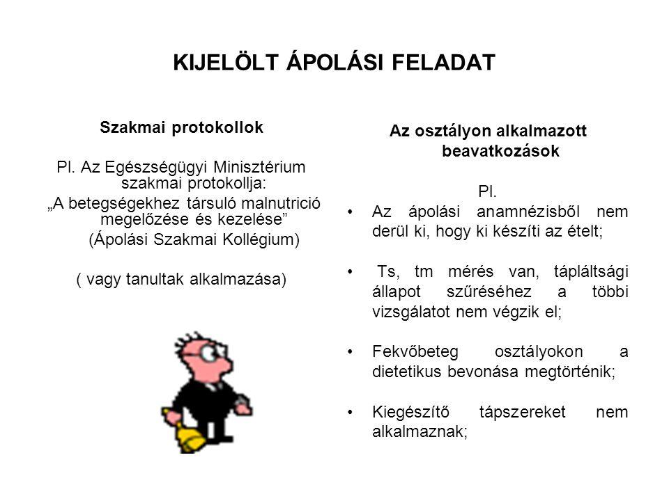 KIJELÖLT ÁPOLÁSI FELADAT Szakmai protokollok Pl.