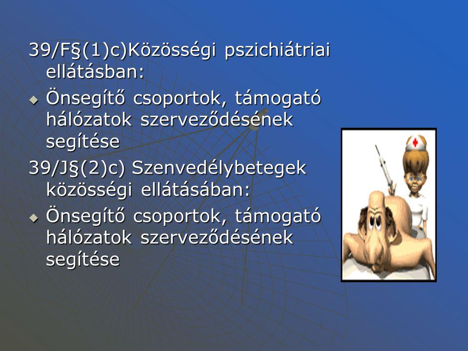 A csoportmunka törvényi háttere- Szakosított ellátások (1/2000 SZCSM rendelet) ÖNSEGÍTŐ CSOPORTOK 77§(1)g)Nappali ellátásokban Fogyatékosok, Fogyatékosok, pszichiátriai betegek, pszichiátriai betegek, szenvedélybetegek nappali intézményében: szenvedélybetegek nappali intézményében:  Speciális önszerveződő csoportok támogatása, működésének, szervezésének támogatása