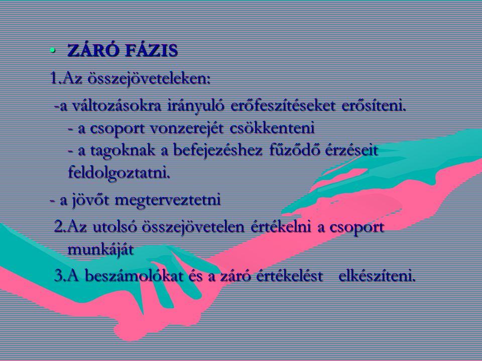 ZÁRÓ FÁZISZÁRÓ FÁZIS 1.Az összejöveteleken: -a változásokra irányuló erőfeszítéseket erősíteni.