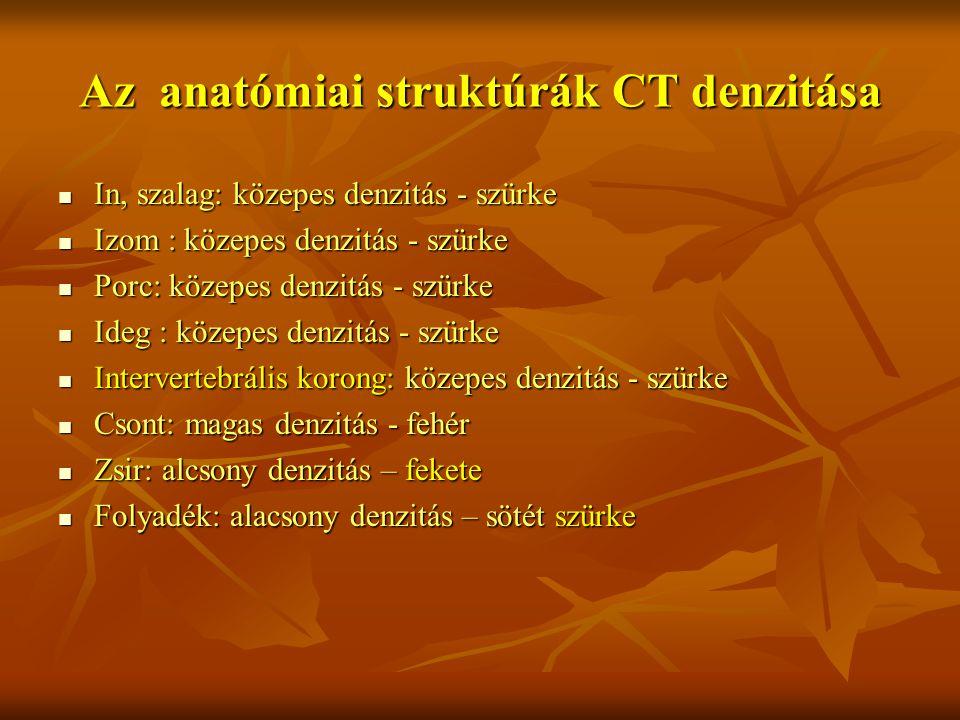 Az anatómiai struktúrák CT denzitása In, szalag: közepes denzitás - szürke In, szalag: közepes denzitás - szürke Izom : közepes denzitás - szürke Izom