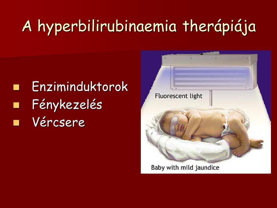 A hyperbilirubinaemia therápiája Enziminduktorok Enziminduktorok Fénykezelés Fénykezelés Vércsere Vércsere