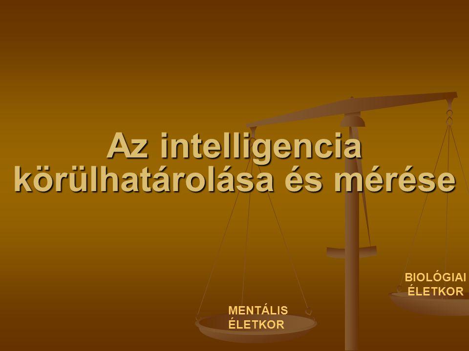 Az intelligencia körülhatárolása és mérése MENTÁLIS ÉLETKOR BIOLÓGIAI ÉLETKOR