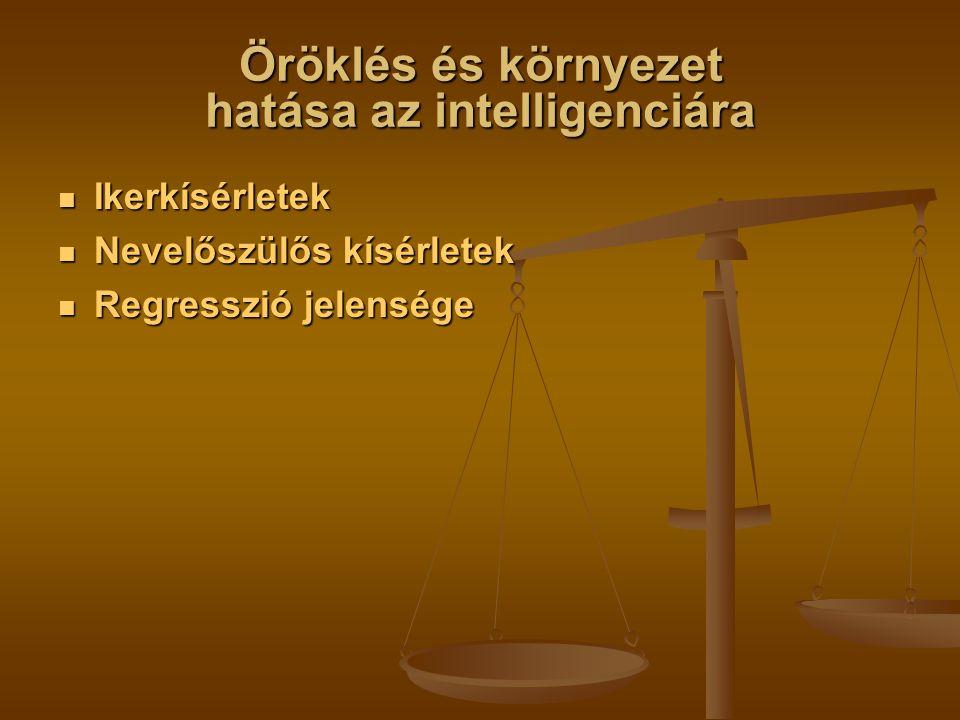 Öröklés és környezet hatása az intelligenciára Ikerkísérletek Ikerkísérletek Nevelőszülős kísérletek Nevelőszülős kísérletek Regresszió jelensége Regresszió jelensége