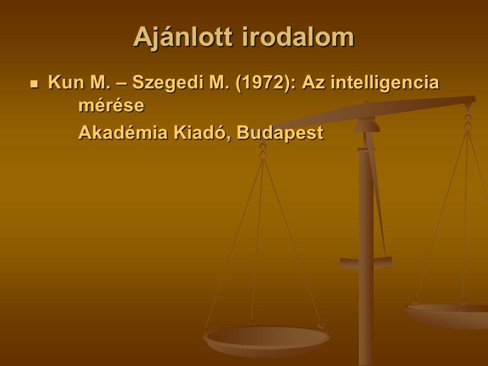 Ajánlott irodalom Kun M.– Szegedi M. (1972): Az intelligencia mérése Kun M.