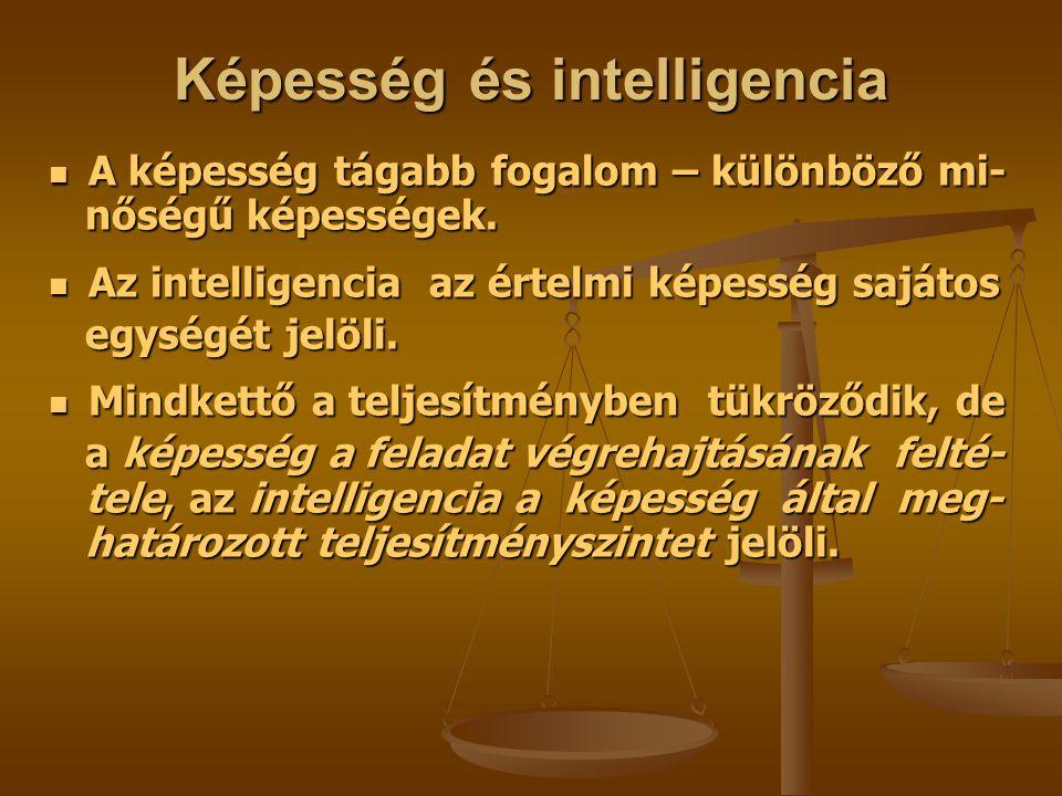 Képesség és intelligencia A képesség tágabb fogalom – különböző mi- A képesség tágabb fogalom – különböző mi- nőségű képességek.