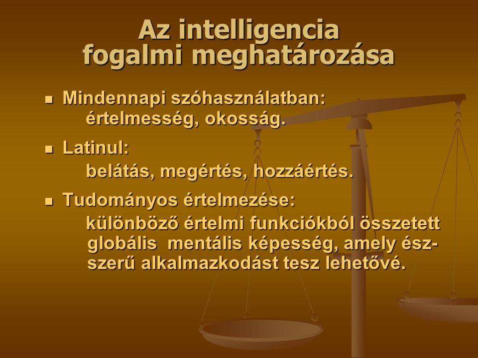 Az intelligencia fogalmi meghatározása Mindennapi szóhasználatban: Mindennapi szóhasználatban: értelmesség, okosság.