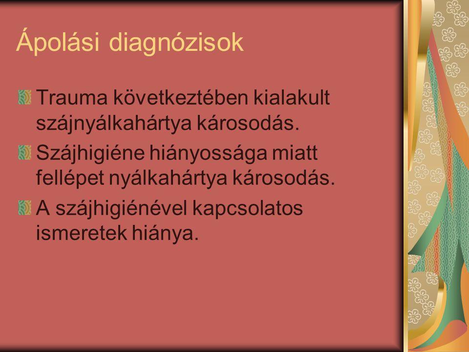 Ápolási diagnózisok Trauma következtében kialakult szájnyálkahártya károsodás. Szájhigiéne hiányossága miatt fellépet nyálkahártya károsodás. A szájhi