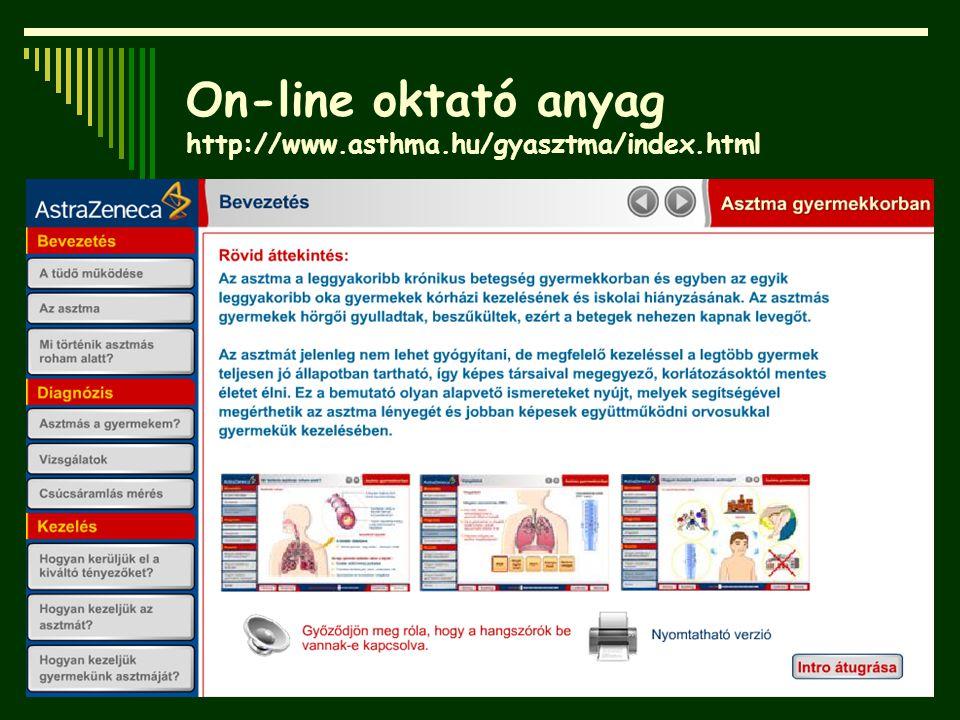 On-line oktató anyag http://www.asthma.hu/gyasztma/index.html