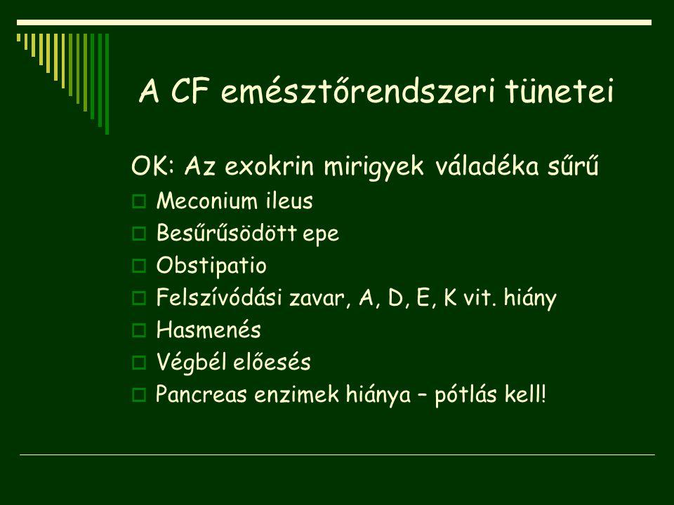 A CF emésztőrendszeri tünetei OK: Az exokrin mirigyek váladéka sűrű  Meconium ileus  Besűrűsödött epe  Obstipatio  Felszívódási zavar, A, D, E, K