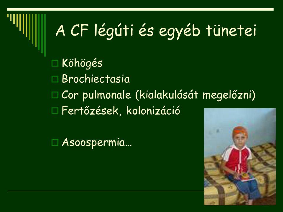 A CF légúti és egyéb tünetei  Köhögés  Brochiectasia  Cor pulmonale (kialakulását megelőzni)  Fertőzések, kolonizáció  Asoospermia…
