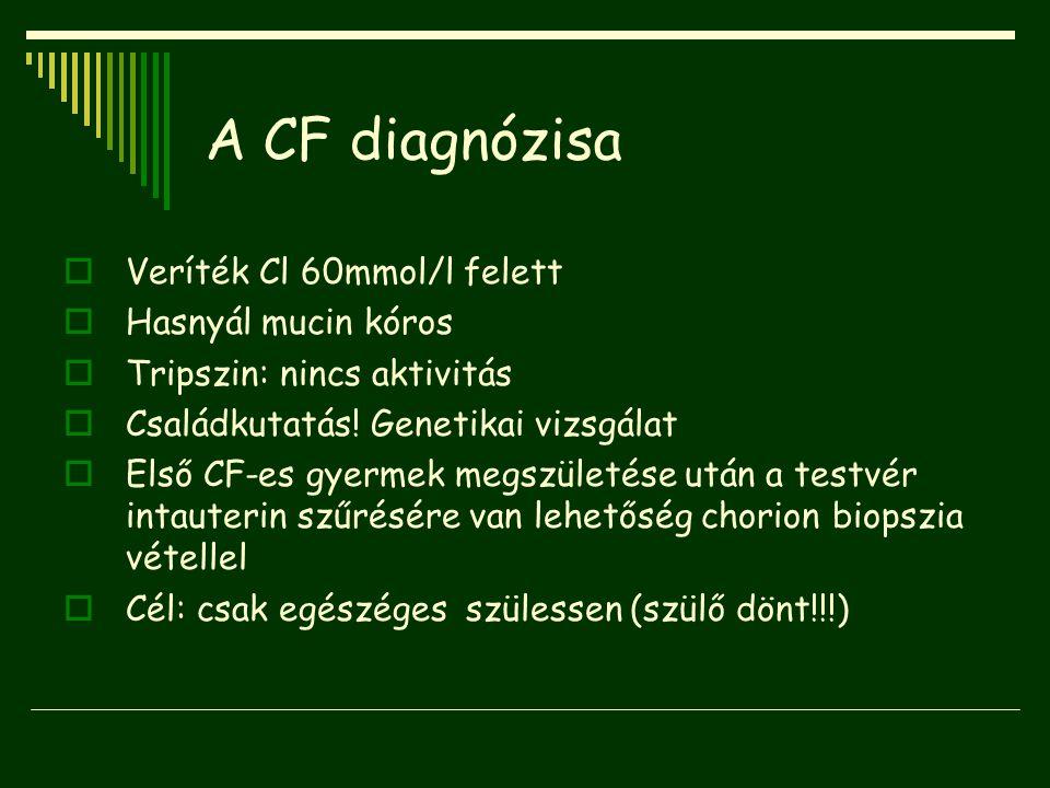 A CF diagnózisa  Veríték Cl 60mmol/l felett  Hasnyál mucin kóros  Tripszin: nincs aktivitás  Családkutatás! Genetikai vizsgálat  Első CF-es gyerm