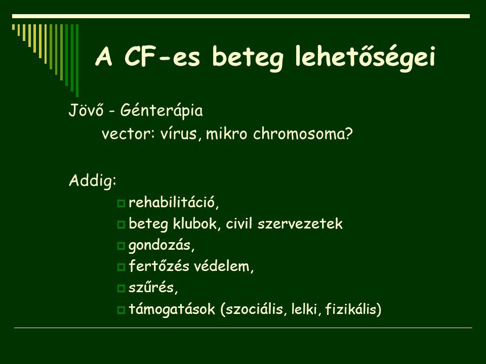 A CF-es beteg lehetőségei Jövő - Génterápia vector: vírus, mikro chromosoma? Addig:  rehabilitáció,  beteg klubok, civil szervezetek  gondozás,  f