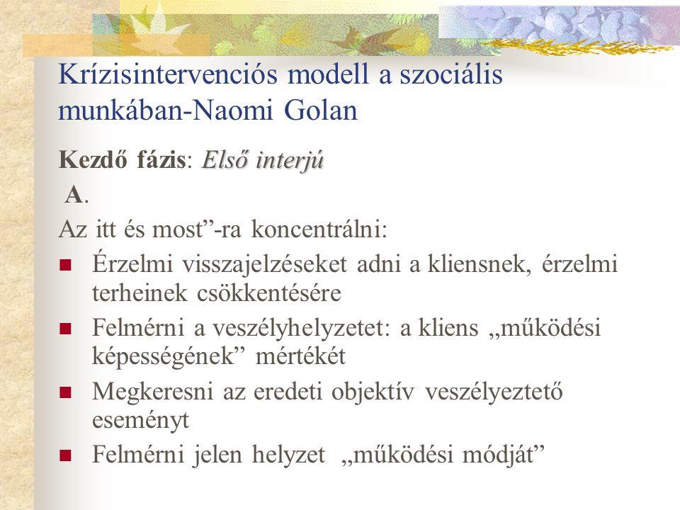 """Krízisintervenciós modell a szociális munkában-Naomi Golan Első interjú Kezdő fázis: Első interjú A. Az itt és most""""-ra koncentrálni: Érzelmi visszaje"""