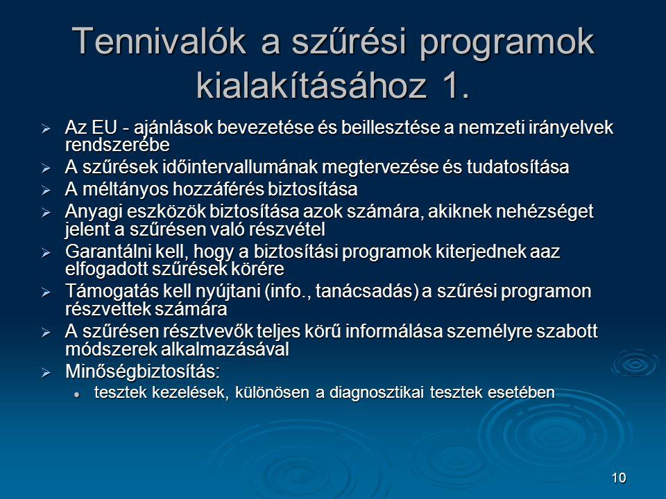 10 Tennivalók a szűrési programok kialakításához 1.  Az EU - ajánlások bevezetése és beillesztése a nemzeti irányelvek rendszerébe  A szűrések időin
