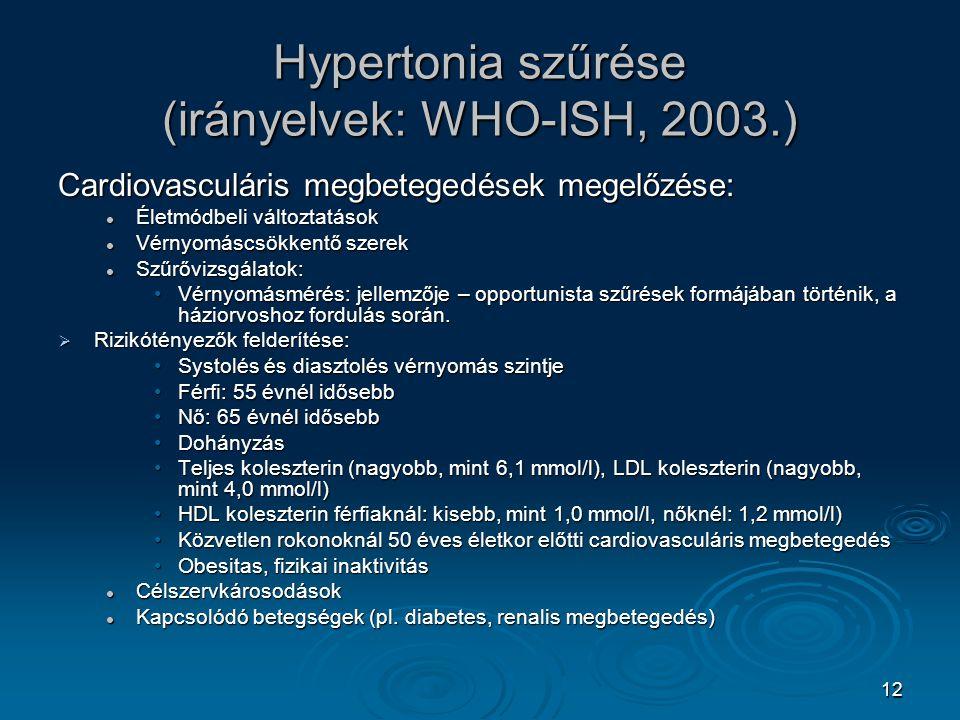 12 Hypertonia szűrése (irányelvek: WHO-ISH, 2003.) Cardiovasculáris megbetegedések megelőzése: Életmódbeli változtatások Életmódbeli változtatások Vér