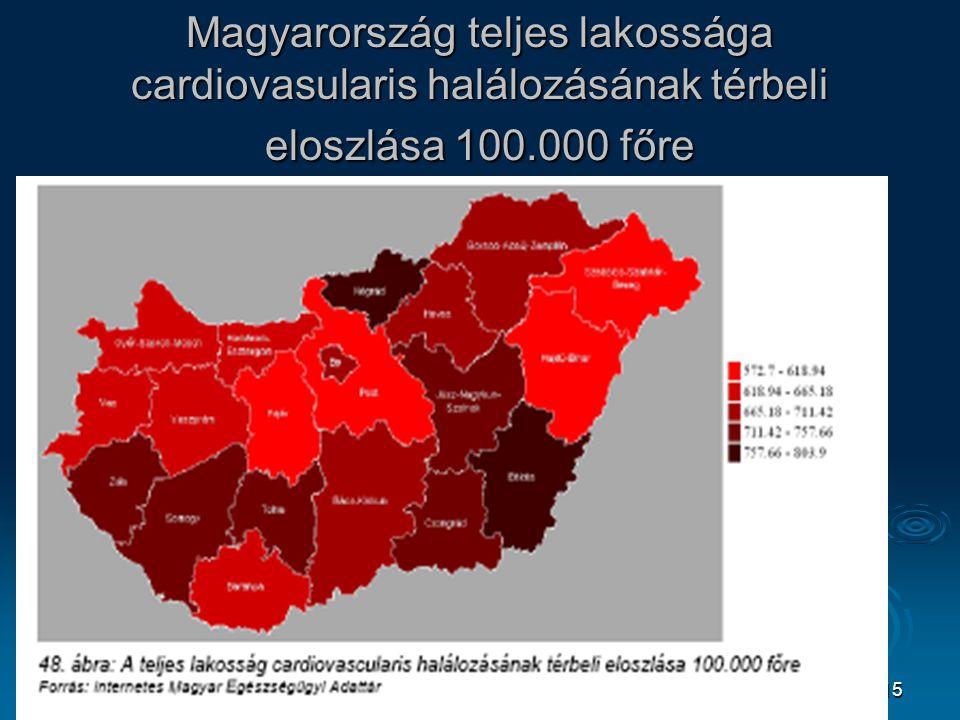15 Magyarország teljes lakossága cardiovasularis halálozásának térbeli eloszlása 100.000 főre