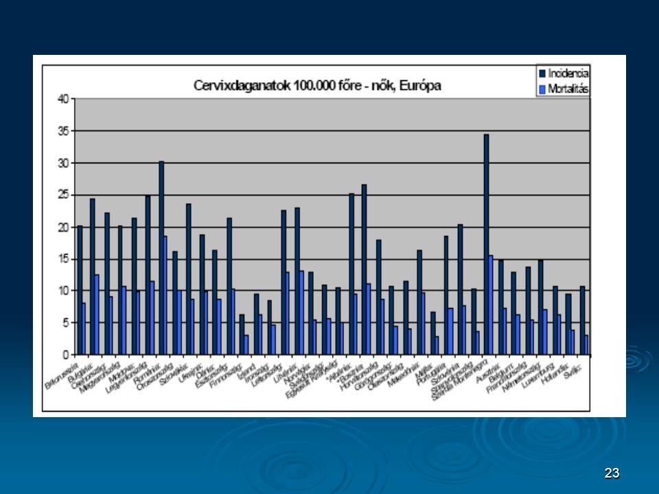 24 Colerectalis daganatok regionális eloszlása Európában – férfiak forrás: IARC – GLOBOCAN 2002.