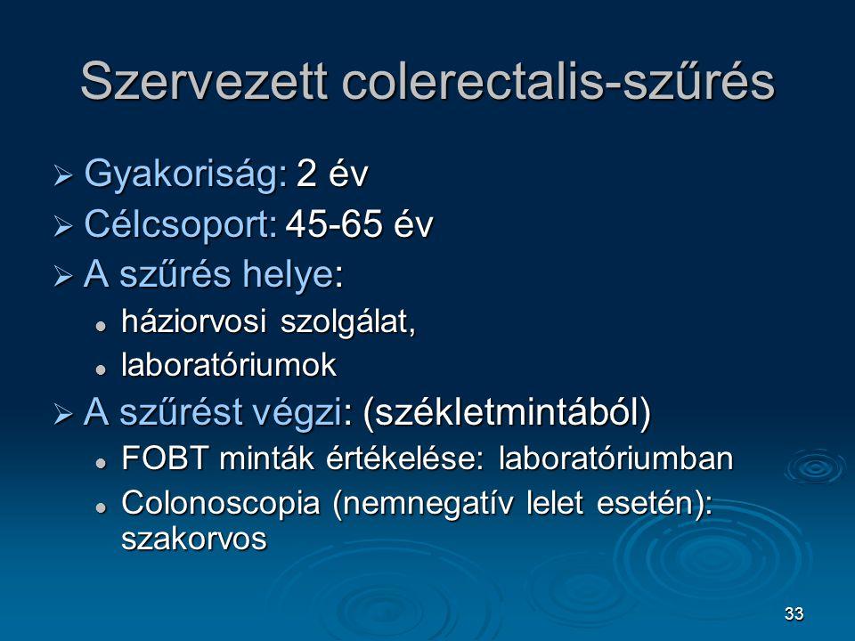 33 Szervezett colerectalis-szűrés  Gyakoriság: 2 év  Célcsoport: 45-65 év  A szűrés helye: háziorvosi szolgálat, háziorvosi szolgálat, laboratórium