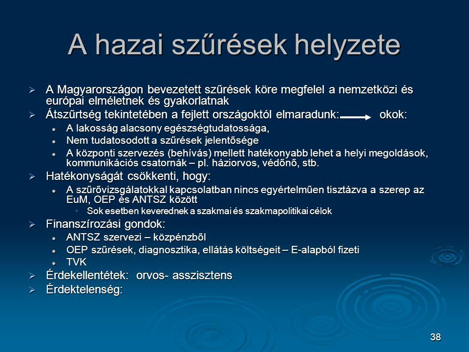 38 A hazai szűrések helyzete  A Magyarországon bevezetett szűrések köre megfelel a nemzetközi és európai elméletnek és gyakorlatnak  Átszűrtség teki