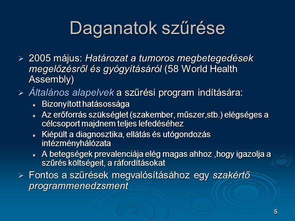 5 Daganatok szűrése  2005 május: Határozat a tumoros megbetegedések megelőzésről és gyógyításáról (58 World Health Assembly)  Általános alapelvek a