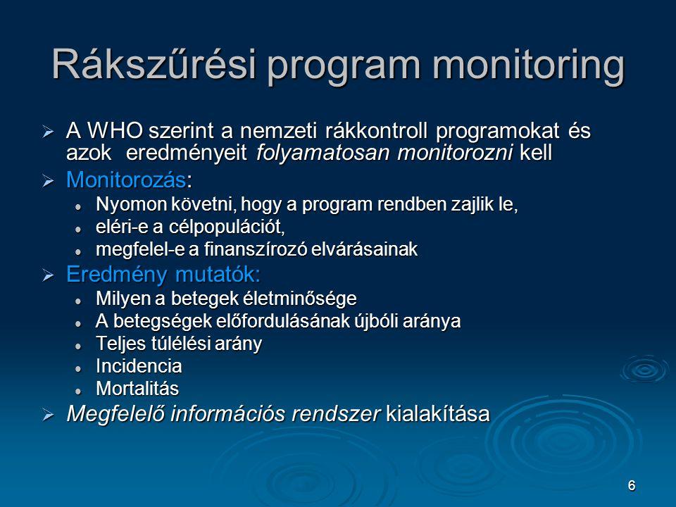 6 Rákszűrési program monitoring  A WHO szerint a nemzeti rákkontroll programokat és azok eredményeit folyamatosan monitorozni kell  Monitorozás: Nyo