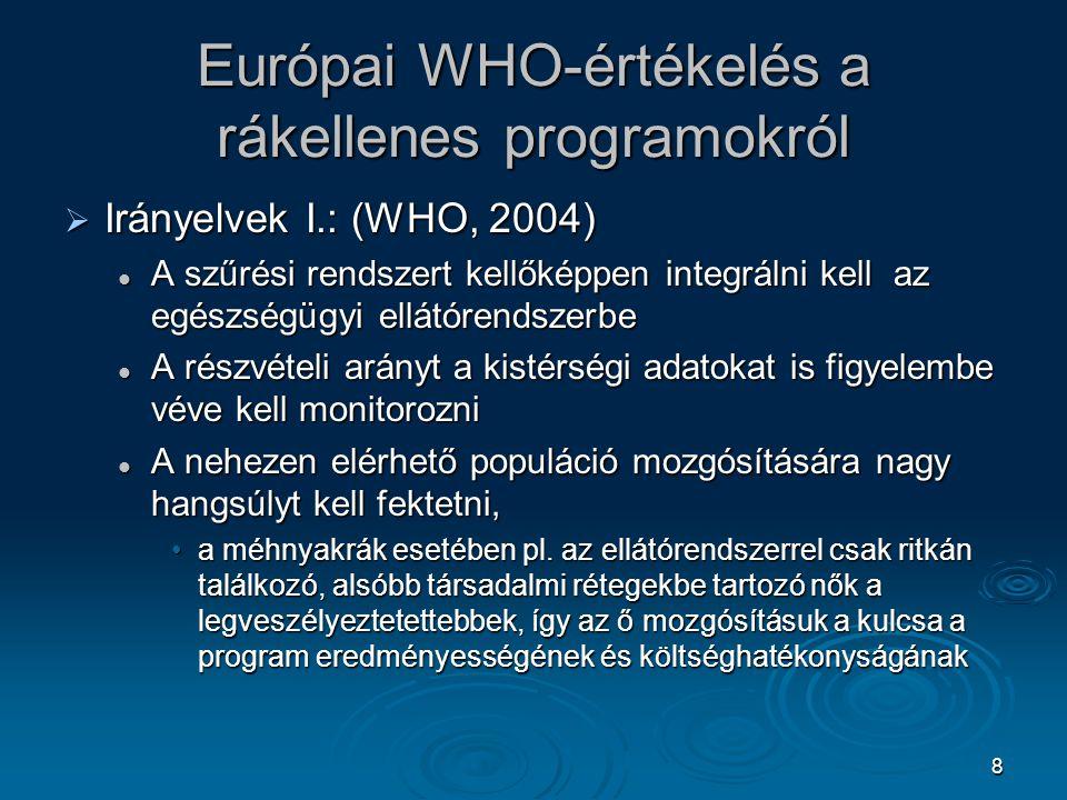 8 Európai WHO-értékelés a rákellenes programokról  Irányelvek I.: (WHO, 2004) A szűrési rendszert kellőképpen integrálni kell az egészségügyi ellátór