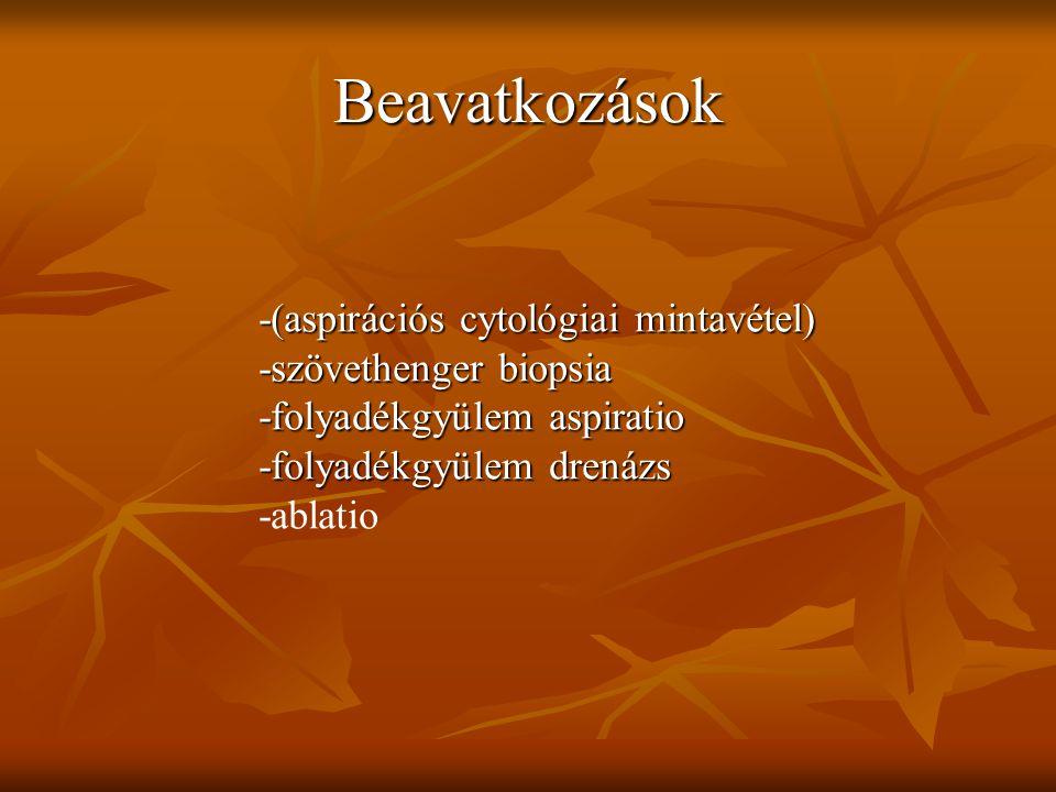 Beavatkozások -(aspirációs cytológiai mintavétel) -szövethenger biopsia -folyadékgyülem aspiratio -folyadékgyülem drenázs -ablatio