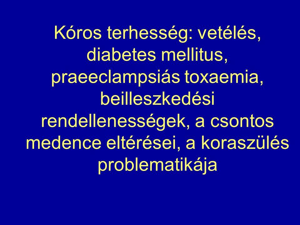 Kóros terhesség: vetélés, diabetes mellitus, praeeclampsiás toxaemia, beilleszkedési rendellenességek, a csontos medence eltérései, a koraszülés probl