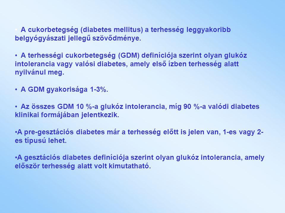 A cukorbetegség (diabetes mellitus) a terhesség leggyakoribb belgyógyászati jellegű szövődménye. A terhességi cukorbetegség (GDM) definíciója szerint
