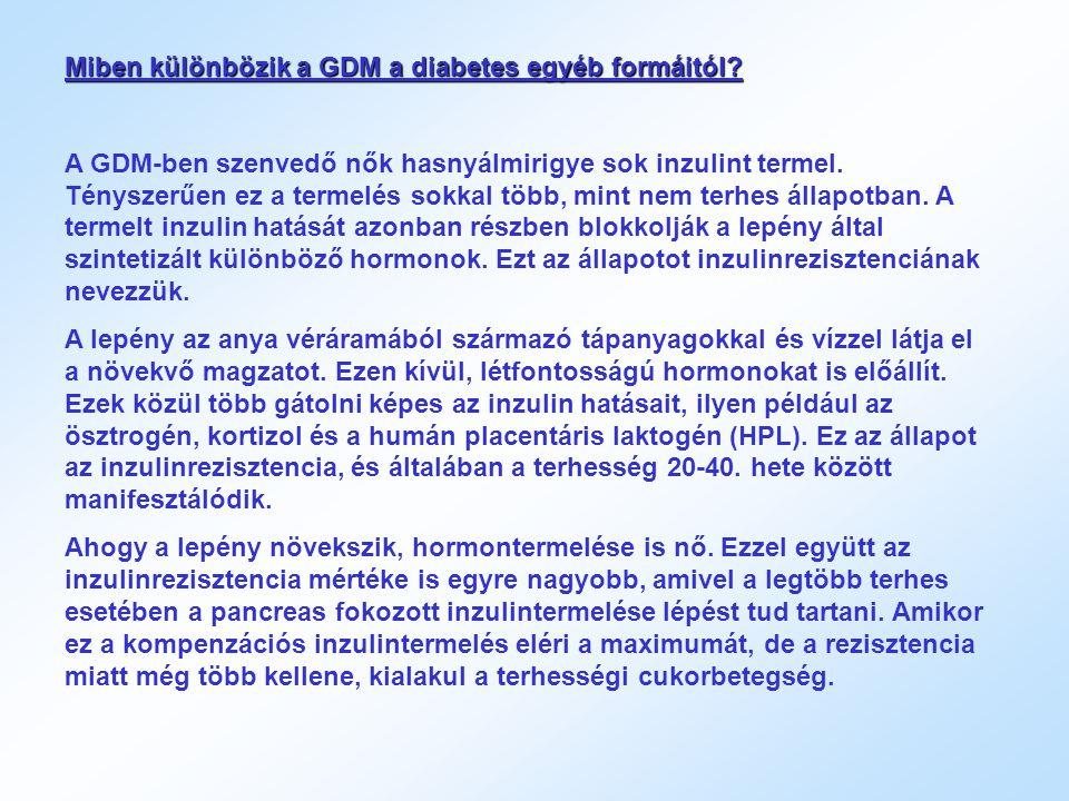 Miben különbözik a GDM a diabetes egyéb formáitól? A GDM-ben szenvedő nők hasnyálmirigye sok inzulint termel. Tényszerűen ez a termelés sokkal több, m
