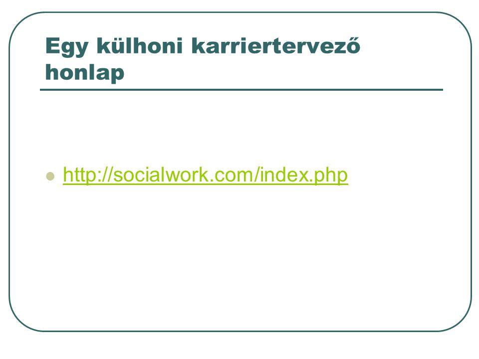 Egy külhoni karriertervező honlap http://socialwork.com/index.php