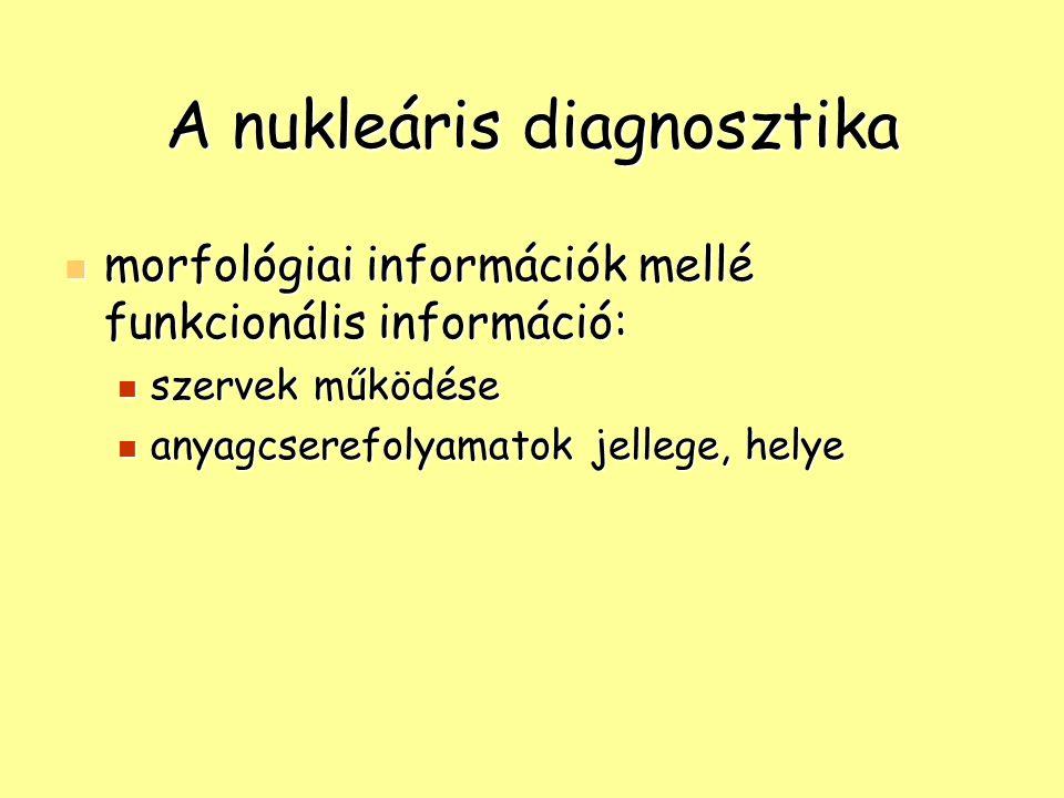A nukleáris diagnosztika morfológiai információk mellé funkcionális információ: morfológiai információk mellé funkcionális információ: szervek működés