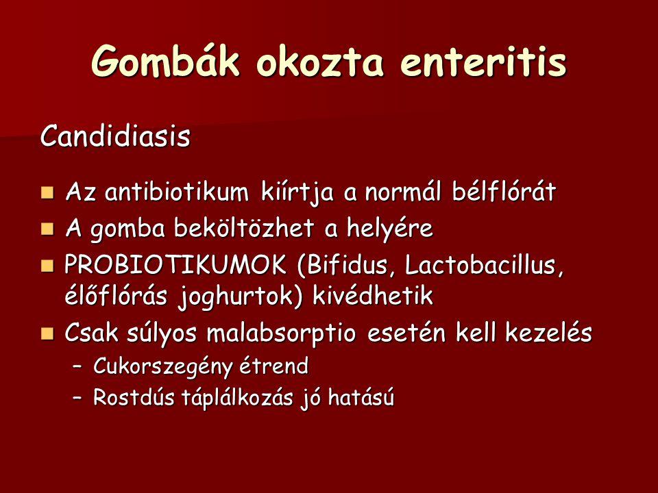 Gombák okozta enteritis Candidiasis Az antibiotikum kiírtja a normál bélflórát Az antibiotikum kiírtja a normál bélflórát A gomba beköltözhet a helyér