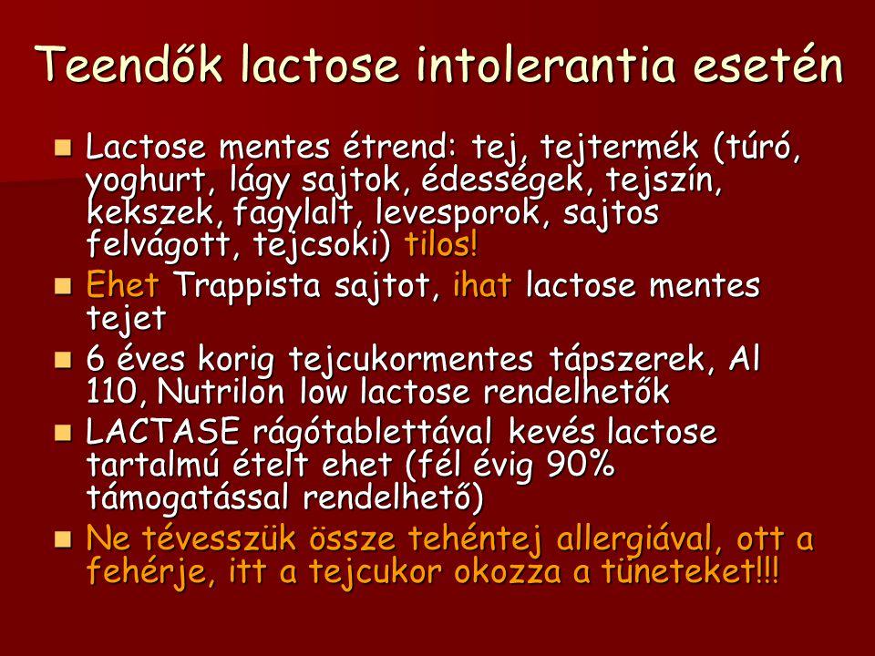 Teendők lactose intolerantia esetén Lactose mentes étrend: tej, tejtermék (túró, yoghurt, lágy sajtok, édességek, tejszín, kekszek, fagylalt, levespor