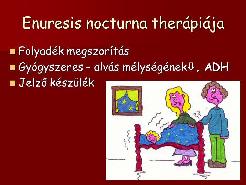 Enuresis nocturna therápiája Folyadék megszorítás Folyadék megszorítás Gyógyszeres – alvás mélységének , ADH Gyógyszeres – alvás mélységének , ADH J