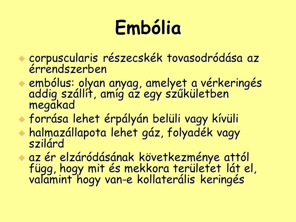 Embólia  corpuscularis részecskék tovasodródása az érrendszerben  embólus: olyan anyag, amelyet a vérkeringés addig szállít, amíg az egy szűkületben