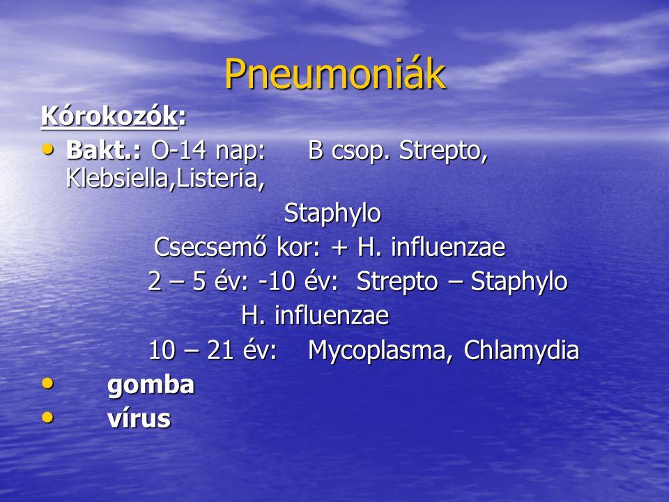 Pneumoniák Kórokozók: Bakt.: O-14 nap:B csop.Strepto, Klebsiella,Listeria, Bakt.: O-14 nap:B csop.